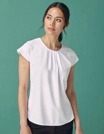Ladies` Pleat Front Short Sleeve Blouse