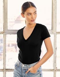 Women`s Jersey Deep V-Neck T-Shirt